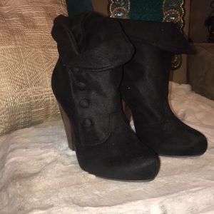 "Bamboo sued 5"" high heel ankle boots"